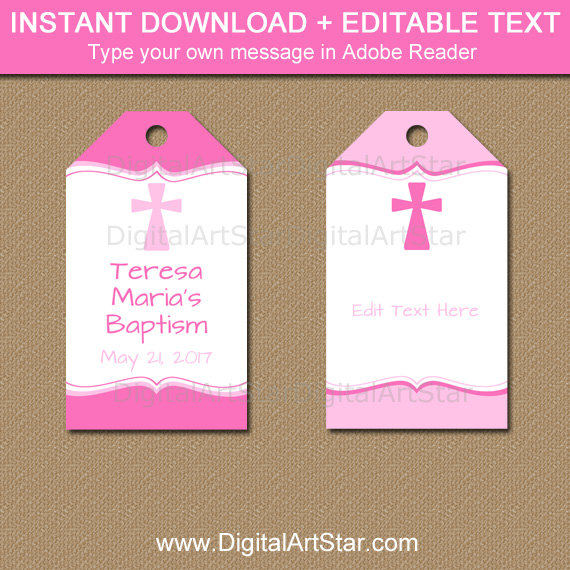 Baptism Tags Pink Baptism Favor Tags First Communion Tags
