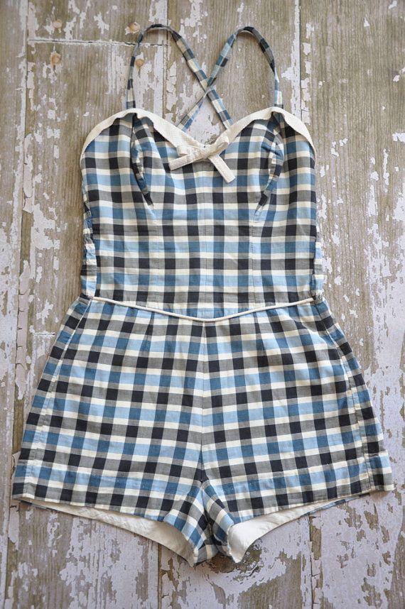 07d01a2814 vintage 1950s designer Cole plaid cotton swimsuit romper