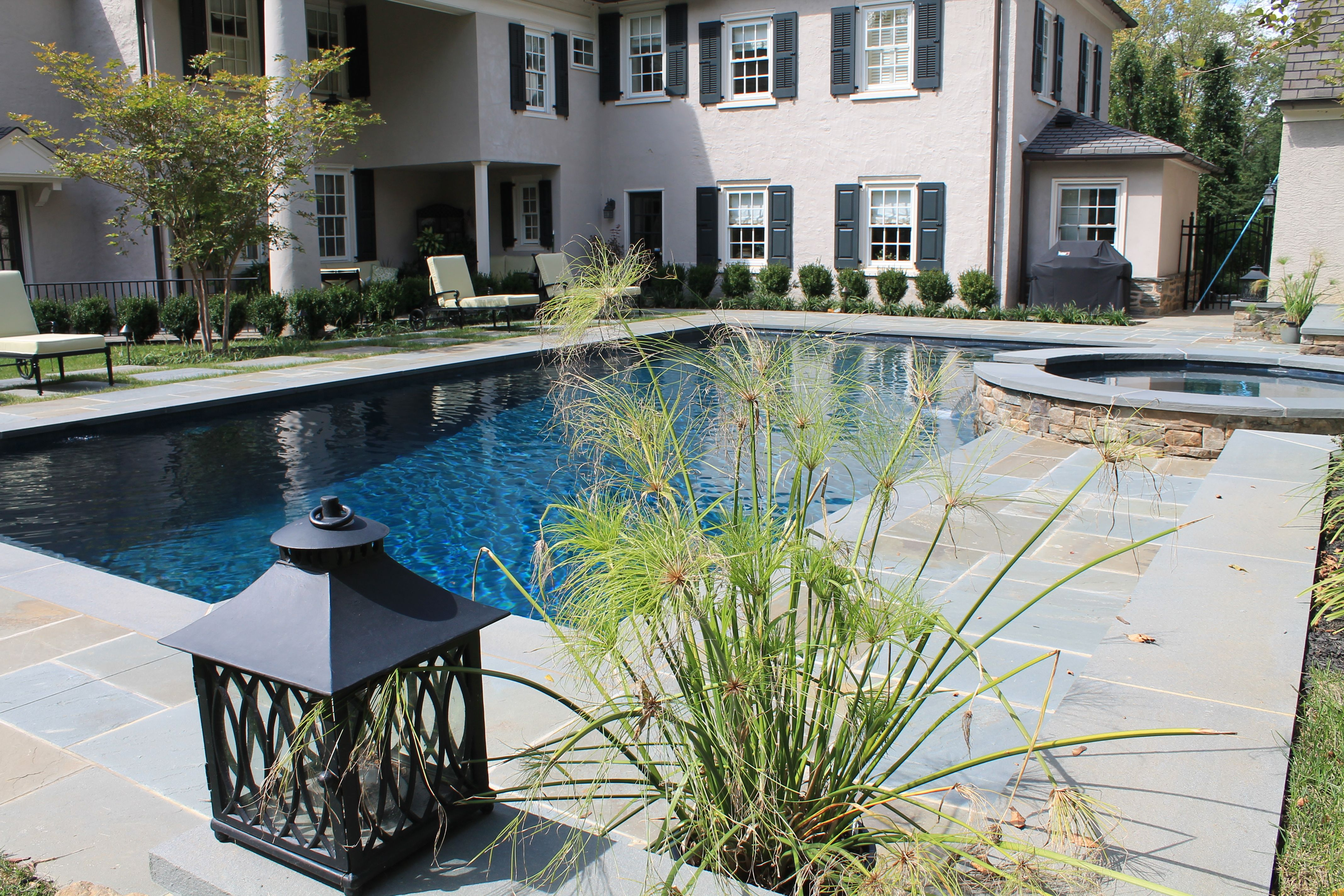 Custom Built Rectangle Swimming Pool With Flagstone Deck