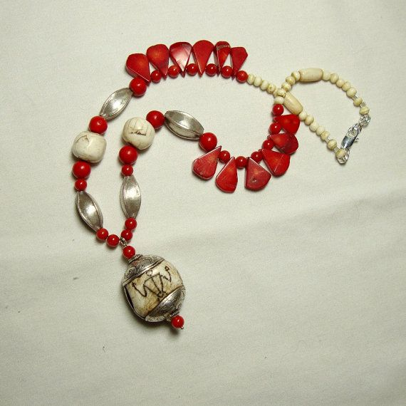 Ancient Shell Thai Silver Coral Necklace by CalliopeAZCreations, $75.00