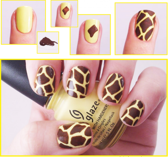 Giraffe Nail Art Would Do This On One Nail And The Rest Yellow