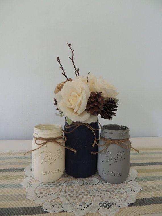 White navy blue and gray painted mason jars vase
