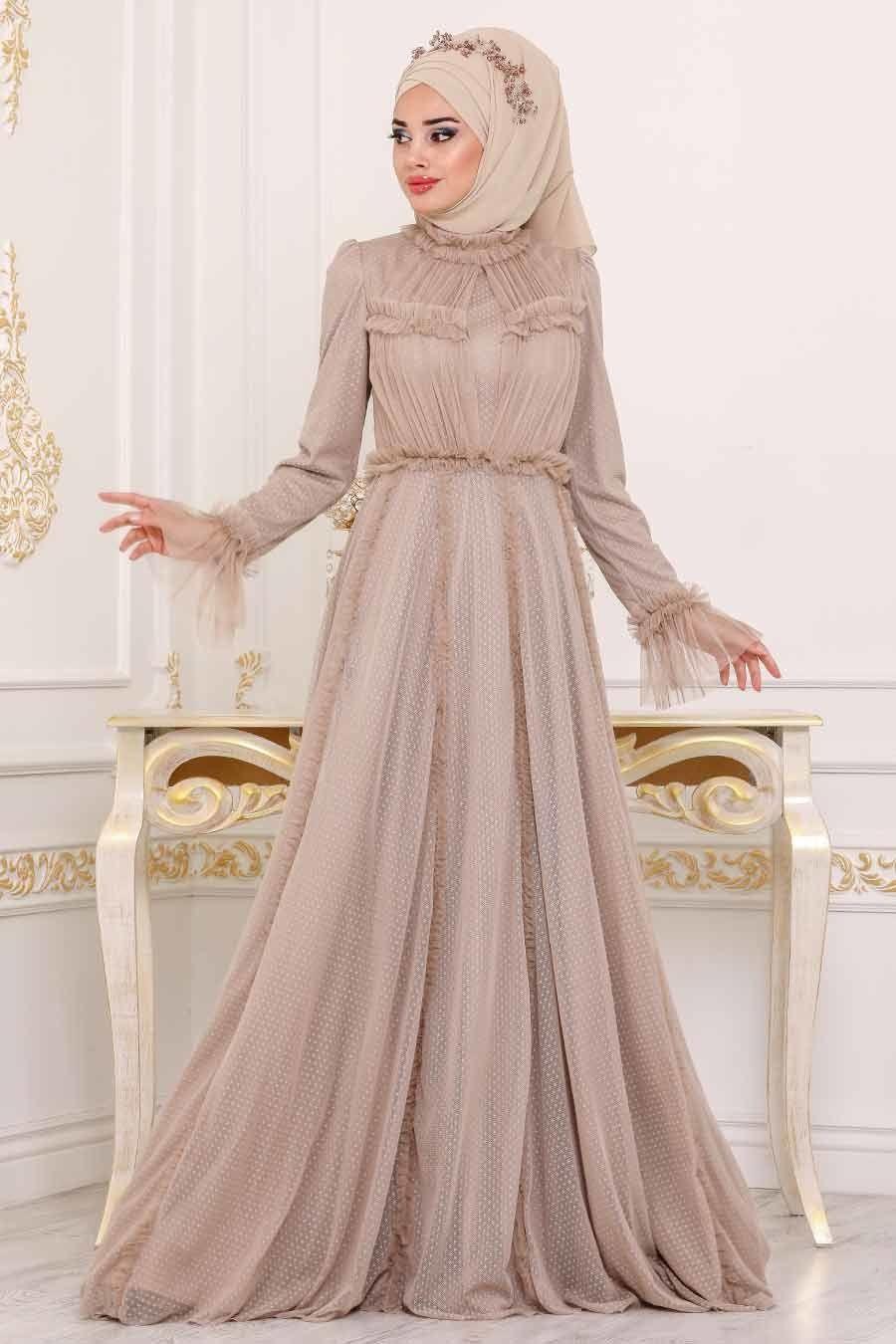 Tesetturlu Abiye Elbise Volan Kol Bej Tesettur Abiye Elbise 39850bej Tesetturisland Com Elbise The Dress Victorian Elbiseler