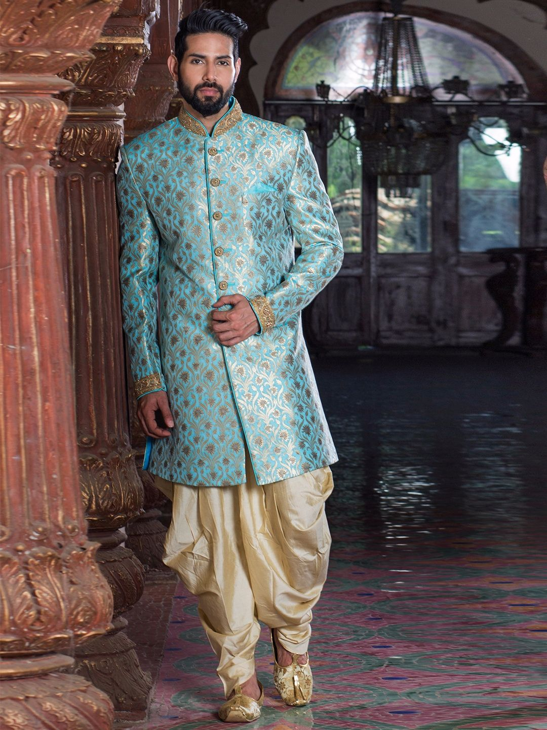 Sky Blue Silk Indo Western | groom wear | Pinterest | Westerns, Silk ...