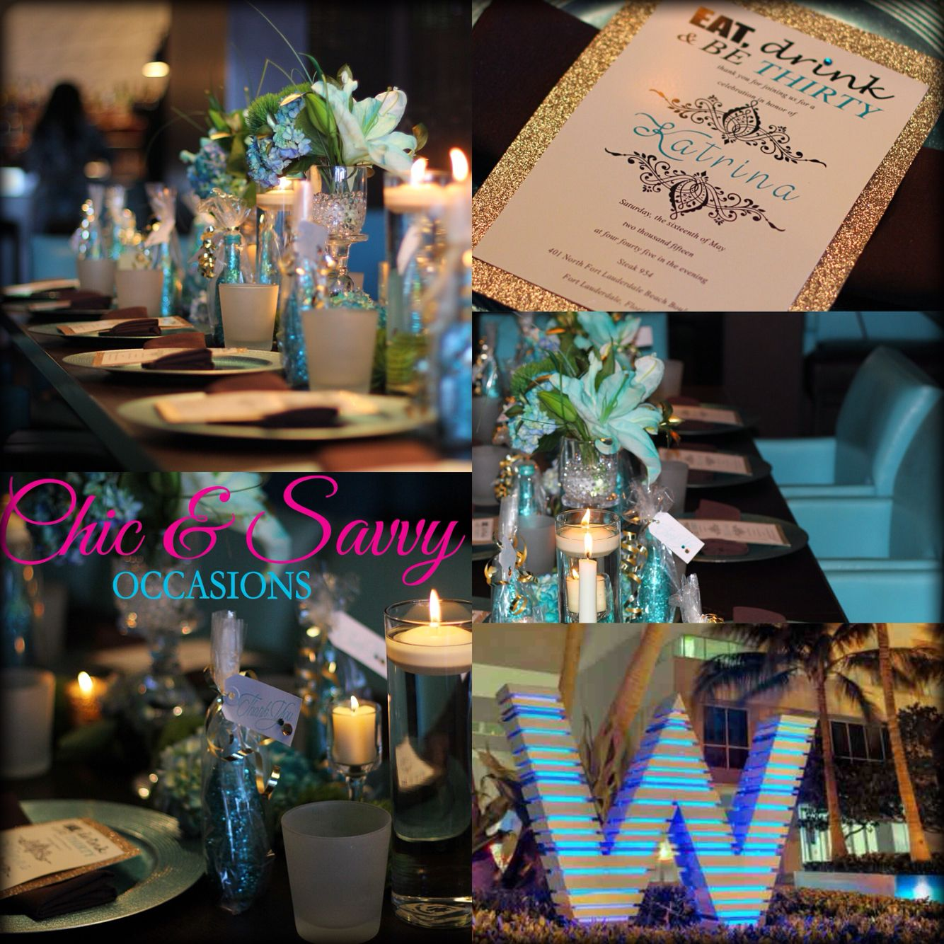 30th Birthday Party Color scheme Teal Brown and Gold Chic