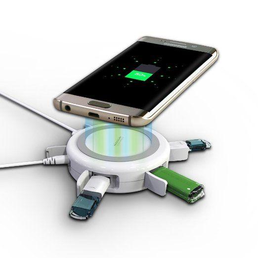 Original NILLKIN Hermit 3x USB Qi Ladegerät Universal 4 USB Port Induktive  Ladestation Und USB