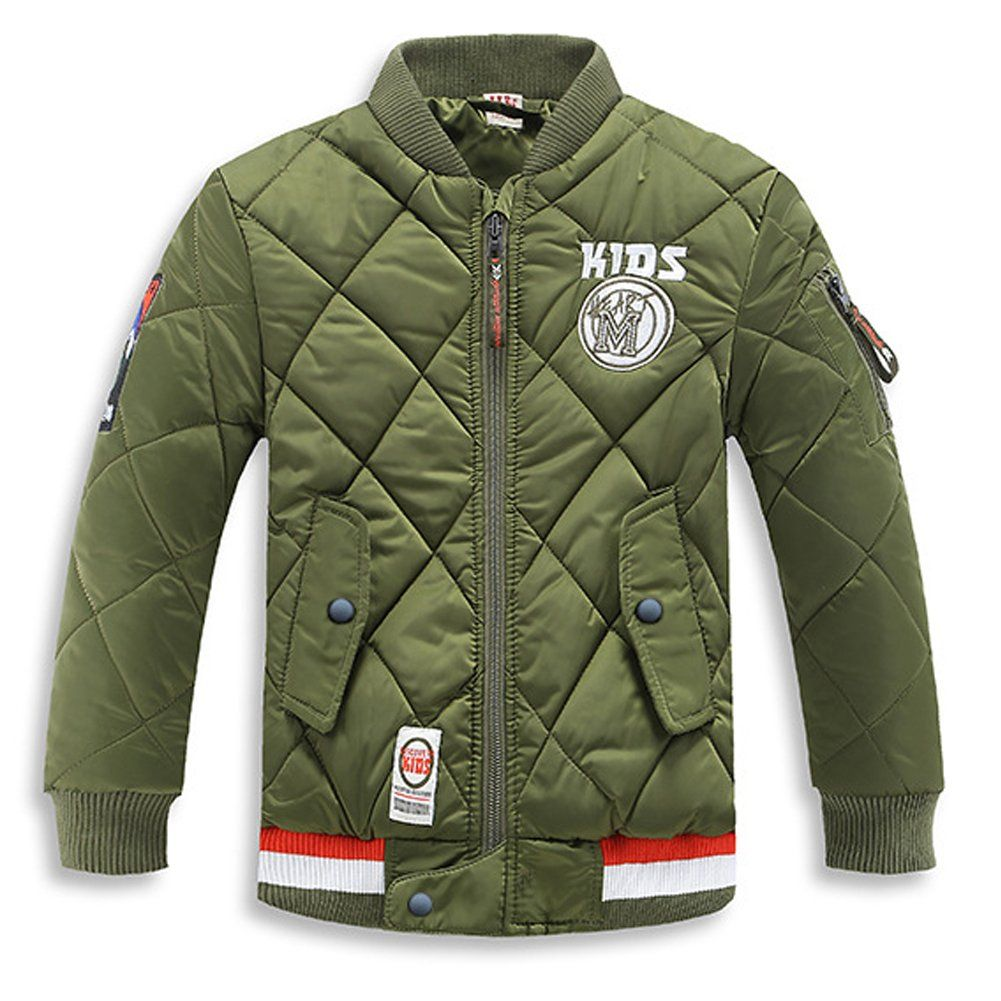 b5e1c2719bd0 Boys Girls Classic Quilted Padded Bomber Jacket Coat Warm Winter ...