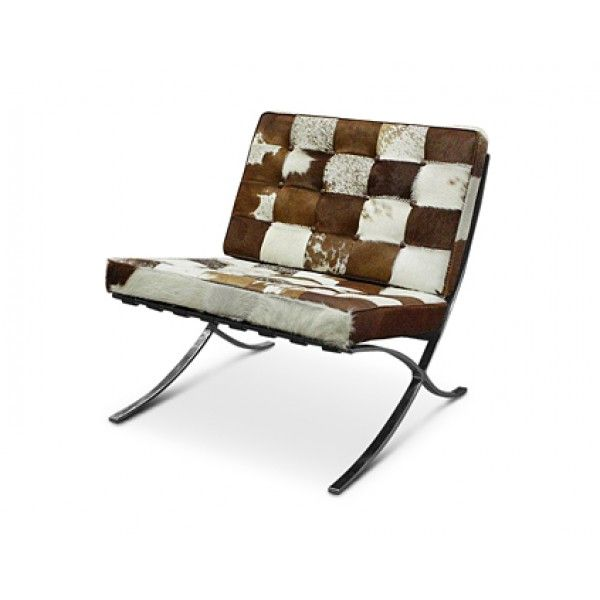 Barcelona Leather Chair Replica - Brown and White Cowhide