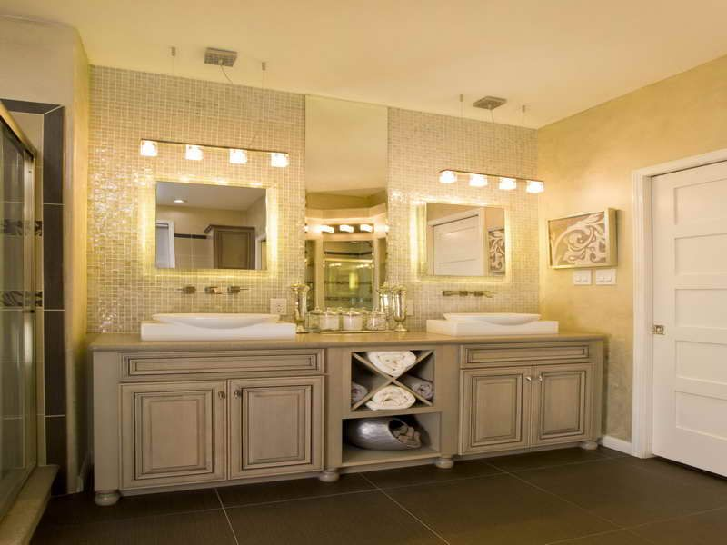 107 Best Bathroom Lighting Over Mirror Images On Pinterest: Large Bathroom Vanity Cabinets With Double Sink And