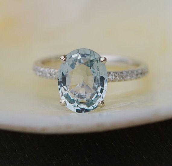 Blake Lively Mint Sapphire Ring 14k White Gold Diamond Ring Etsy In 2020 14k White Gold Diamond Ring Blue Sapphire Rings Engagement Rings Sapphire