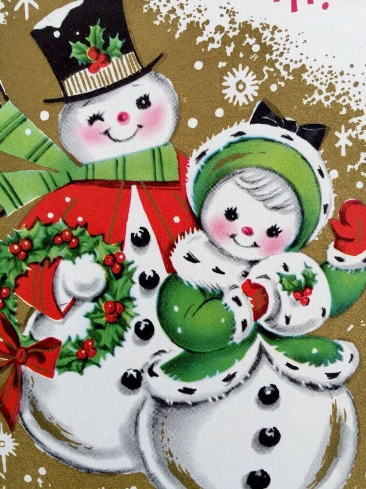 Brightly Colored Cute Snowman Couple 1950's Vintage
