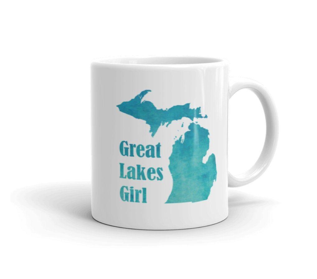Great lakes girl mug michigan mug watercolor great lakes