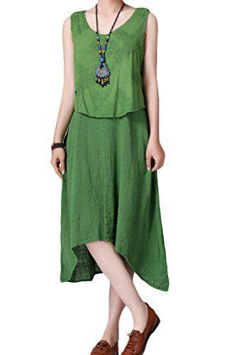 Minibee Ladies Fake Two Layer Dress Irregular Dress Maxi Dress Green Minibee http://www.amazon.com/dp/B00Y20FZWM/ref=cm_sw_r_pi_dp_HuPyvb0DSFZP9