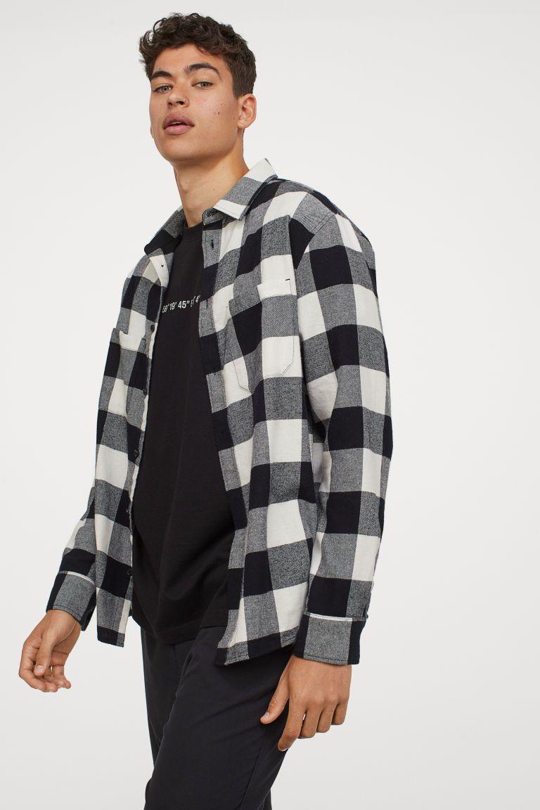 Cotton Flannel Shirt Black Natural White Men H M Us In 2021 Cotton Flannel Shirts Flannel Outfits Men Flannel Shirt [ 1152 x 768 Pixel ]