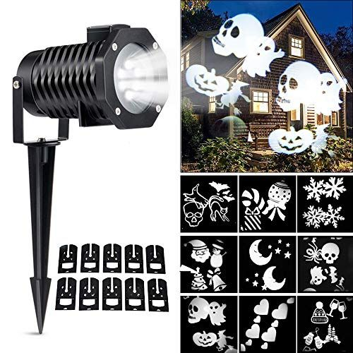 Ucharge Led Christmas Light Projector, Indoor Outdoor Snowflake Spotlight Rotating Night Ligh... Ucharge Led Christmas Light Projector, Indoor Outdoor Snowflake Spotlight Rotating Night Light Projector, 10 Slides Dynamic Lighting Landscape Led Projector Light Show Party, Holiday Decoration, White