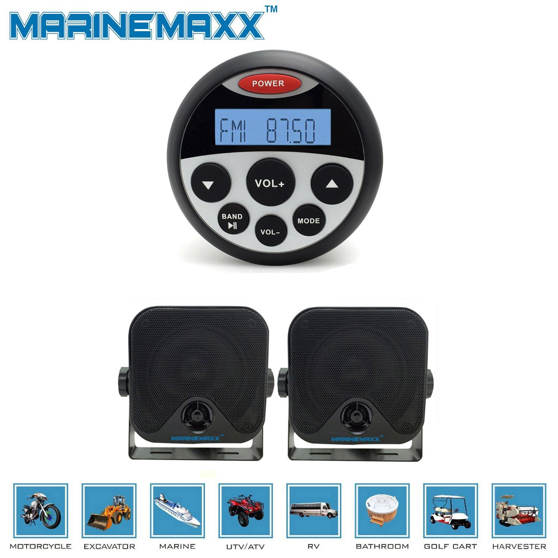 MarineMaxx 3.5-Inch Marine Gauge USB Stereo Radio with 2 Piece ...