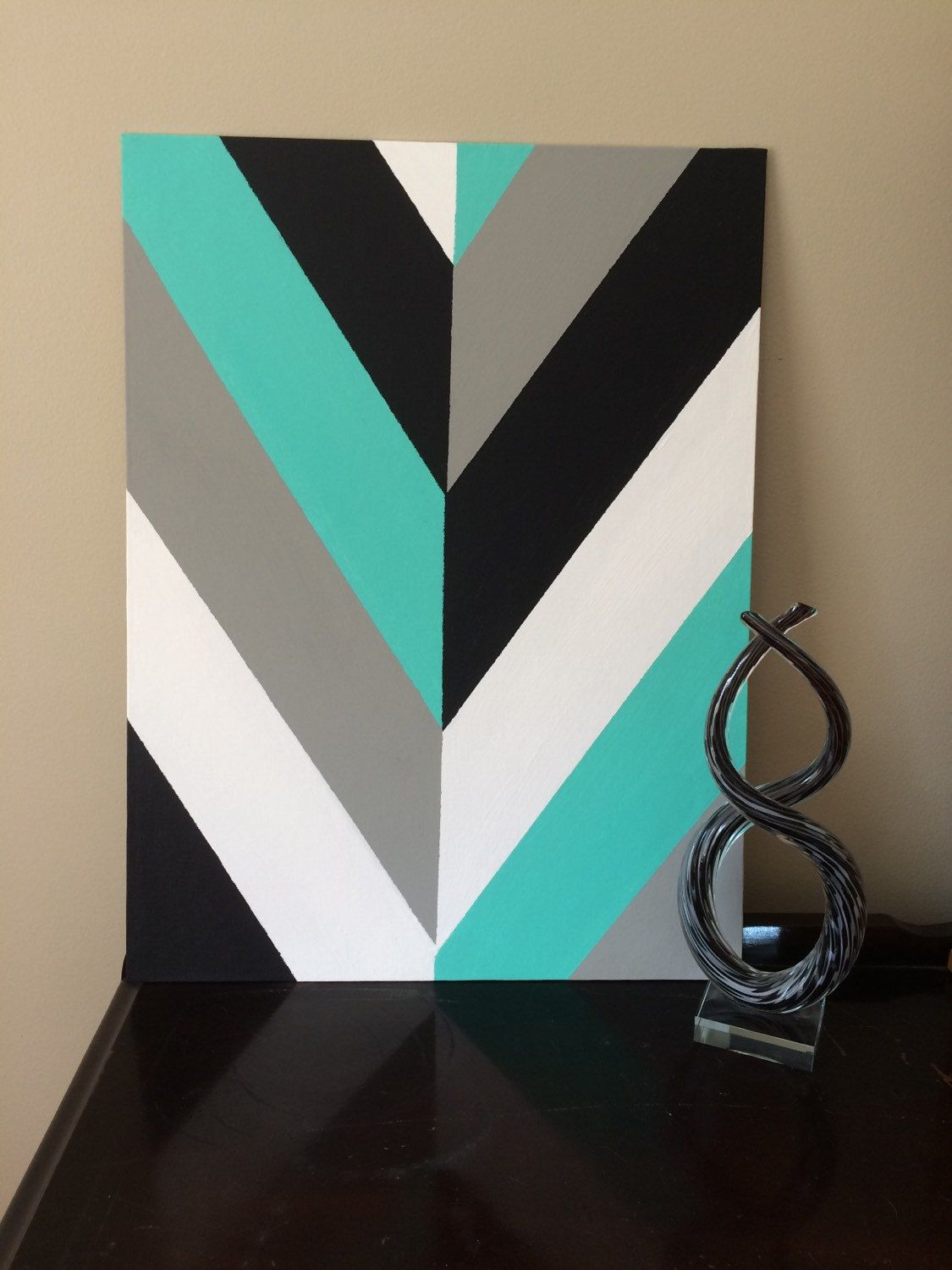 Hand painted modern chevron arrow geometric canvas art by Painting geometric patterns on walls