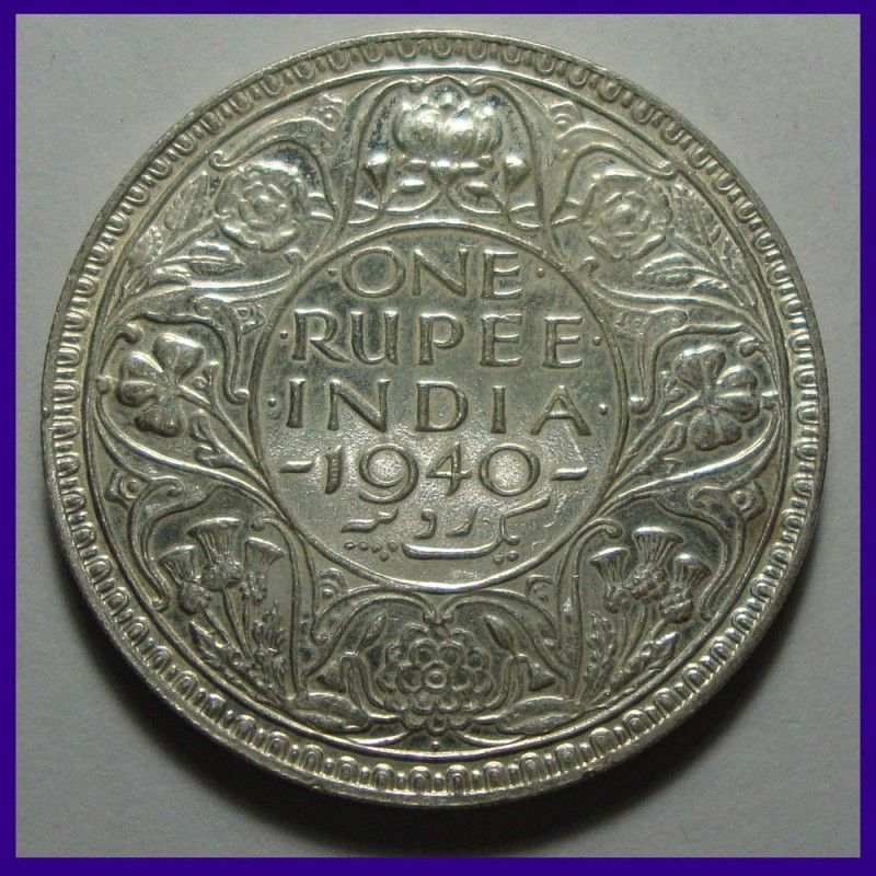 British India 1940 Unc One Rupee George Vi King Silver Coin Coins Copper Coins Silver Coins