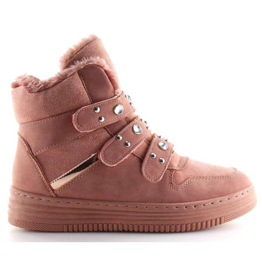 Tenisowki Damskie Obuwiedamskie Ocieplane Trampki Za Kostke Rozowe Zjy 29 Obuwie Damskie Wedge Sneaker Sneakers High Top Sneakers