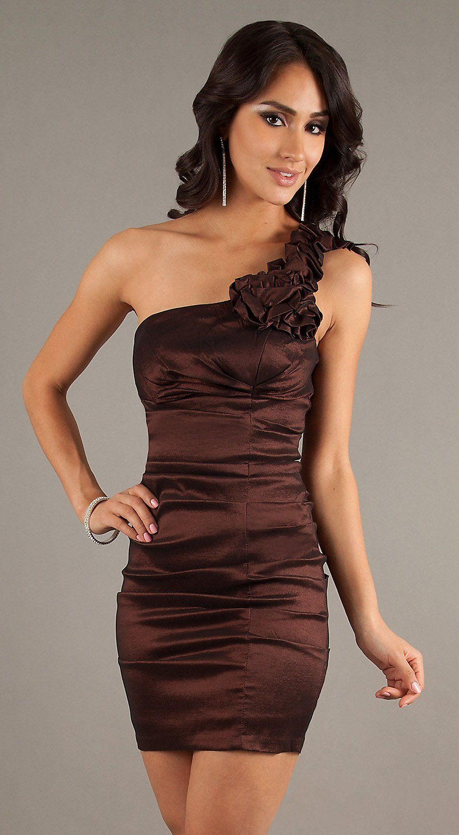 Short Brown Cocktail Gown One Strap Tight Fitting Above Knee $78.99 ...