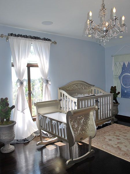 Blue with silver furniture nursery