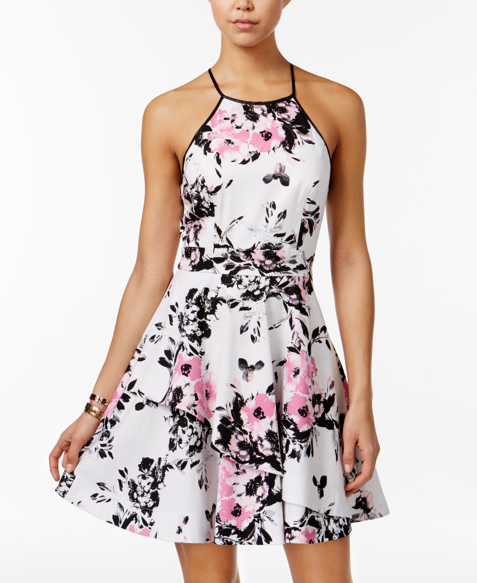 Speechless Juniors Floral Print Asymmetrical Tier Dress Tier Dress Dresses Junior Dresses [ 2378 x 1947 Pixel ]