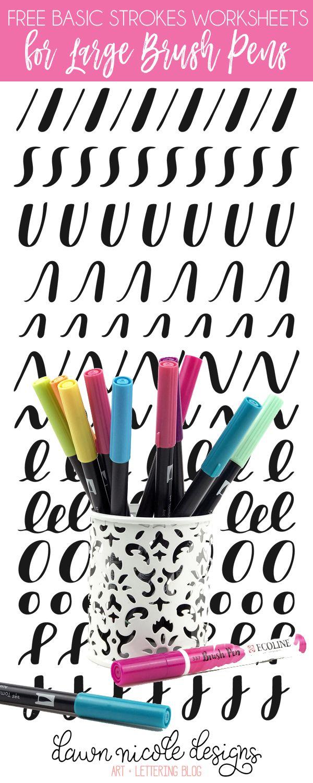 Basic Strokes Worksheets For Large Brush Pens Hand Lettering Worksheet Brush Pen Brush Lettering Practice [ 1500 x 600 Pixel ]