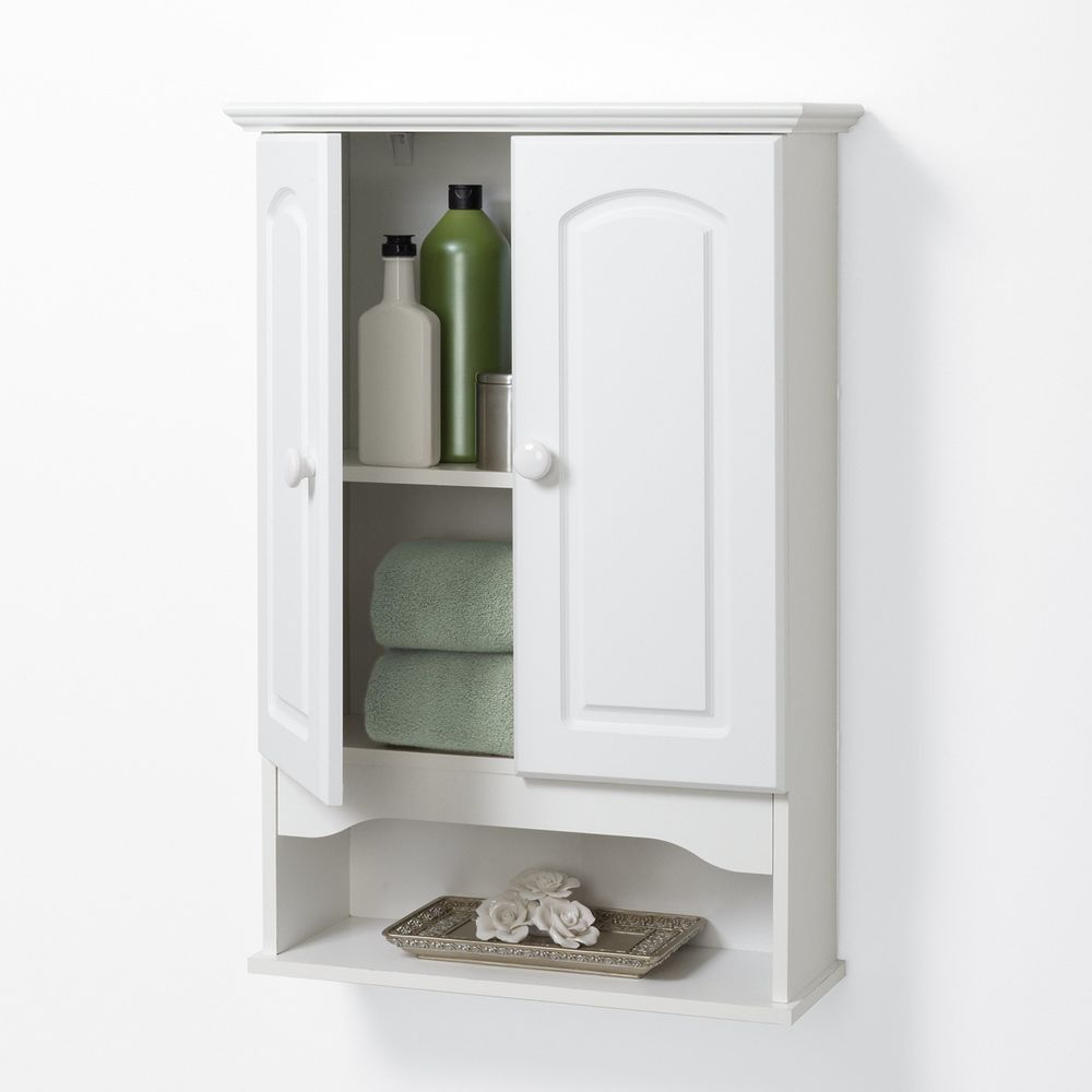 Wall Storage Cabinet Doors Mounted Kitchen Office Bathroom White ...