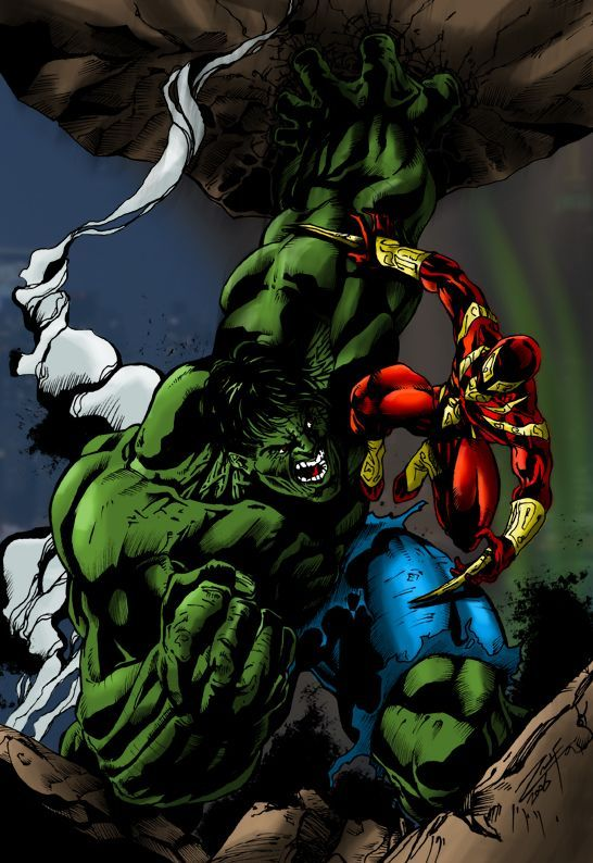 #Hulk #Fan #Art. (R1lf's Hulk vs. Iron Spiderman) By: Deathring2000. ÅWESOMENESS!!!™ ÅÅÅ+