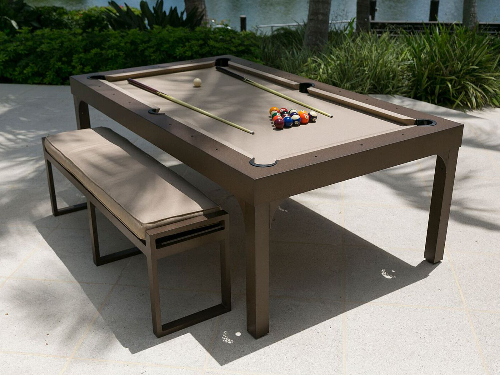 The Balcony Outdoor Pool Table Pool Table Billiards Dining Table Outdoor Pool Table