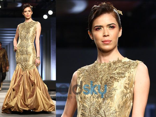golden gown with gold petals
