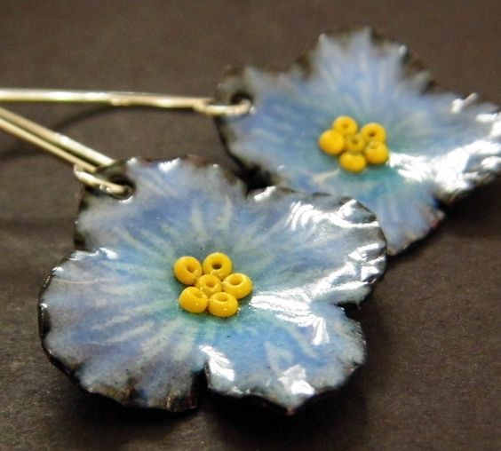 Blue Flower Enamel Earrings-sterling silver and enamel earrings - $42.00 - Handmade Jewelry, Crafts and Unique Gifts by Metal Fuze