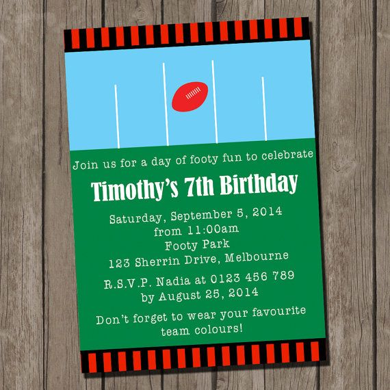 Football Party Printable Invitation, Aussie Rules Football