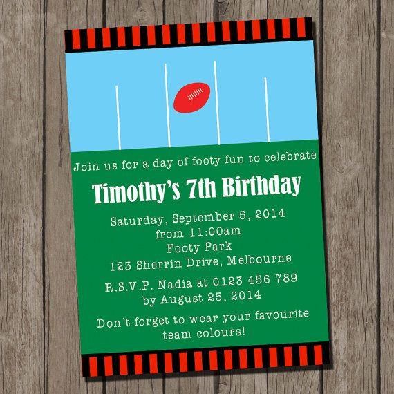 Football Party Printable Invitation, Aussie Rules Football ...