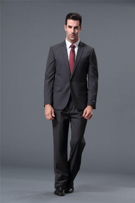 Dark gray 1button slim fit business suit for men item