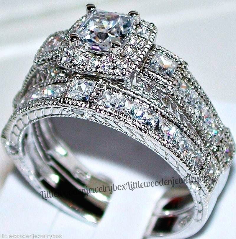 14k White Gold Sterling Silver Princess Square Cut Engagement Ring