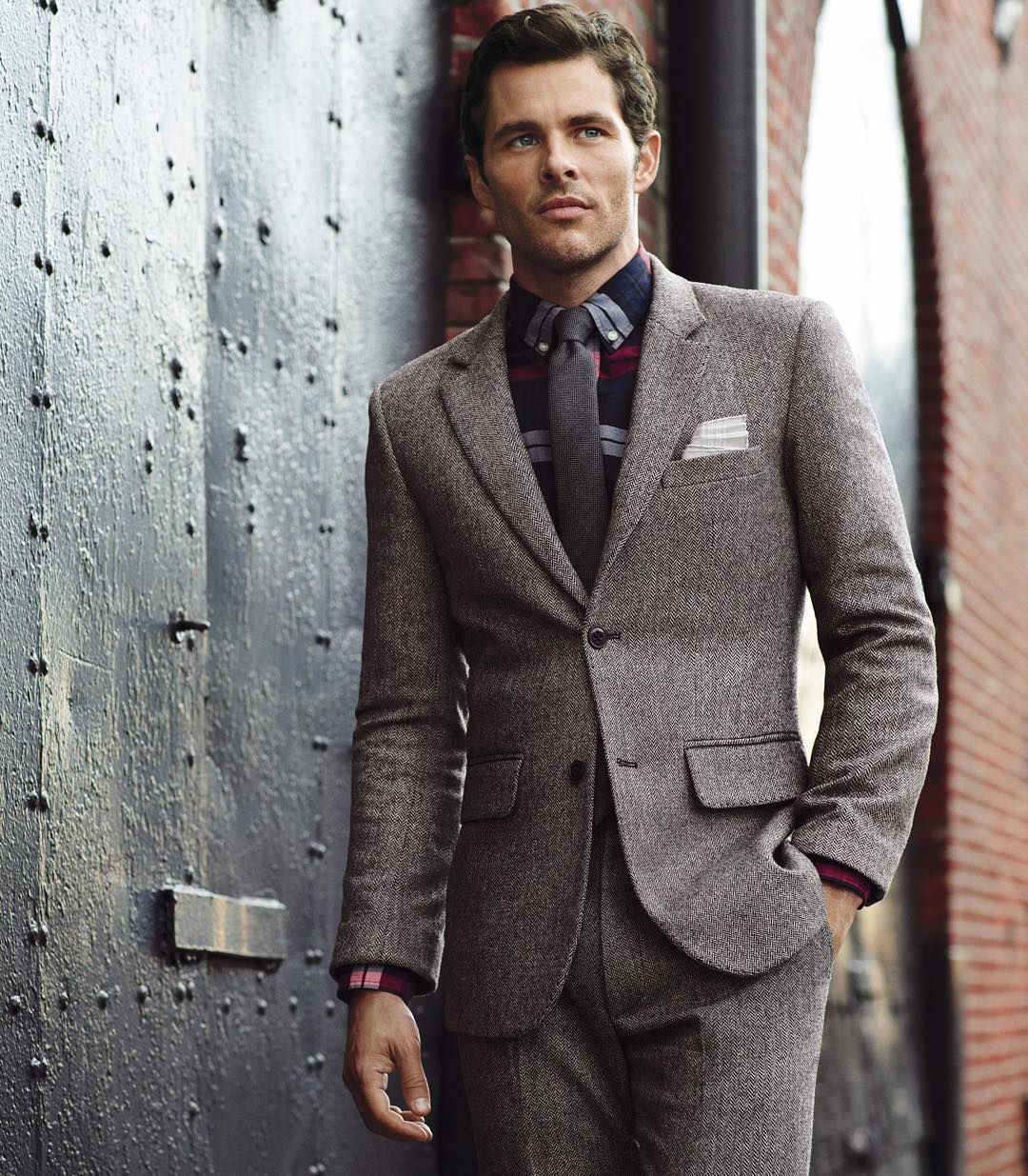 """""""What to Wear Today: A bold plaid shirt with your autumnal suit. (Photo by @nathanielgoldberg) #wtwt #ootd"""""""