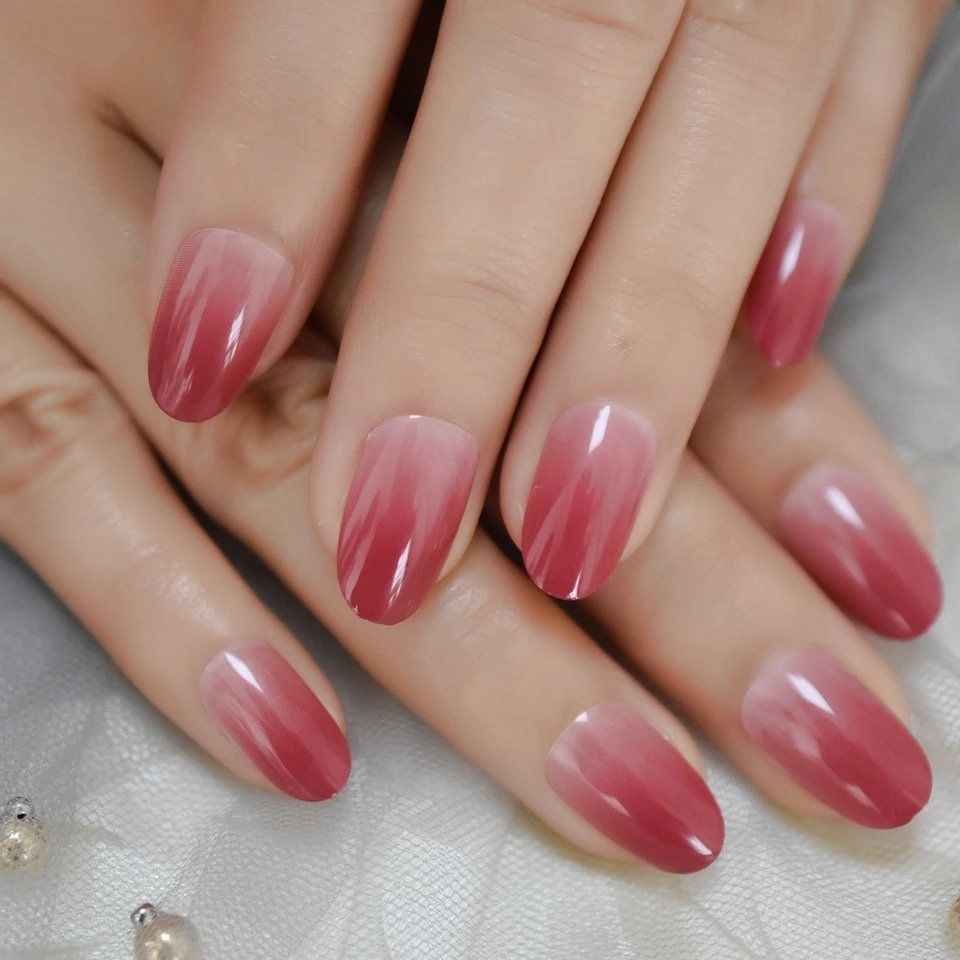 LightCoral Ombre Artificial False Nails Sleek UV Gel