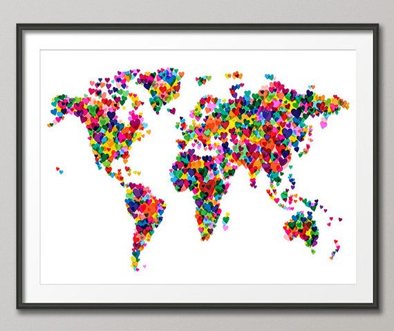 Love hearts map of the world map art print 776 pinterest love hearts map of the world map art print 776 by artpause on etsy gumiabroncs Images