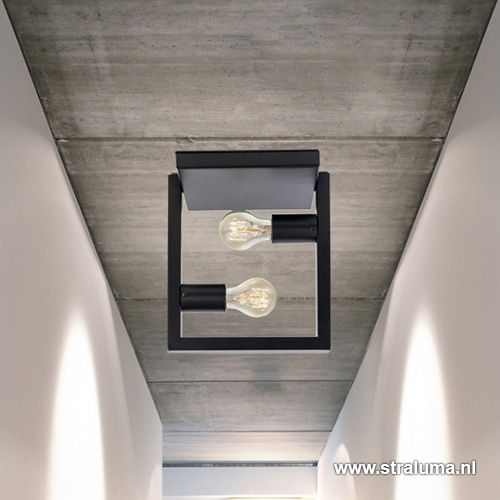 Strakke zwarte plafondlamp metaal Frame - www.straluma.nl ...