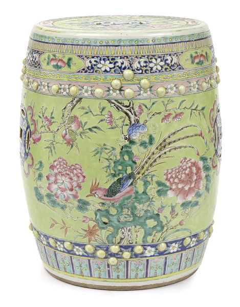 A Chinese Famille Verte Porcelain, Porcelain Garden Stools Chinese