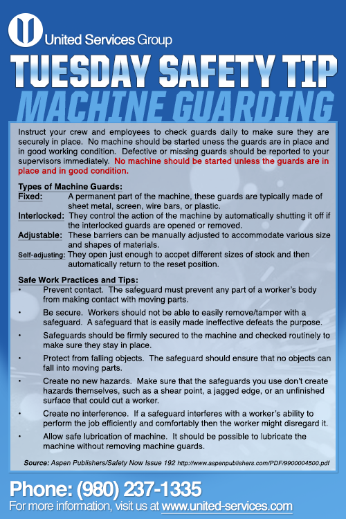 This week's Tuesday Safety Tip is about Machine Guarding
