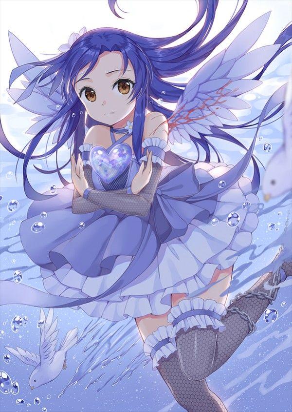 Dessin fille oiseau bleu par chobi chu animes pinterest manga fille manga et dessin manga - Dessin fille manga ...