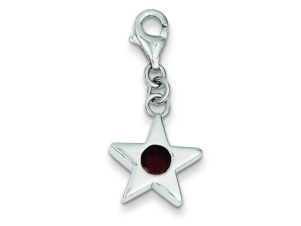 Sterling Silver January Cubic Zirconia Birth Month Star Charm
