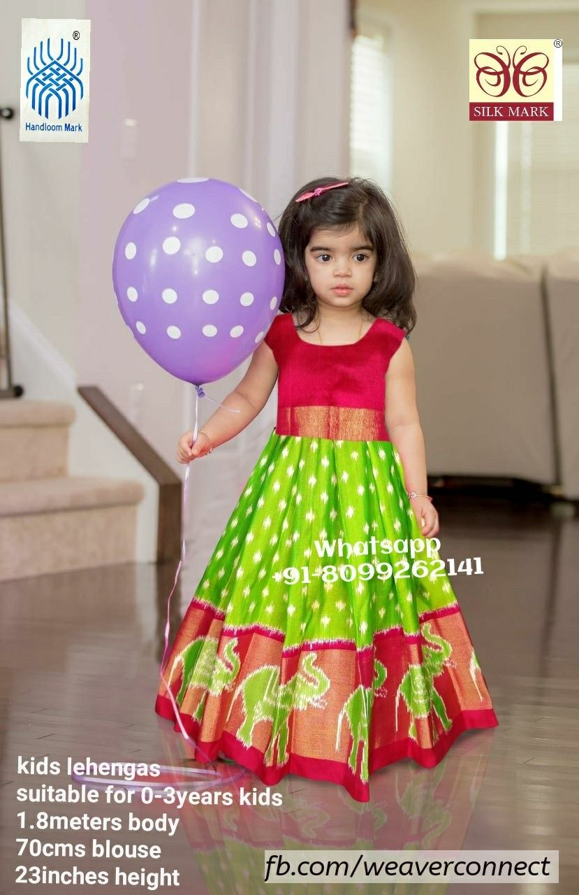 390ddbaf9af Ikkat Baby Lehenga, Kids Lehenga, Kids Blouse Designs, Lehanga For Kids,  Ikkat