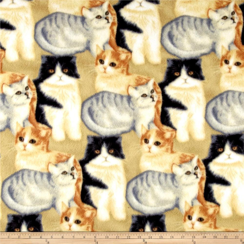 Polar Fleece Kitten Craze Beige Grey Polar Fleece Kitten Fleece