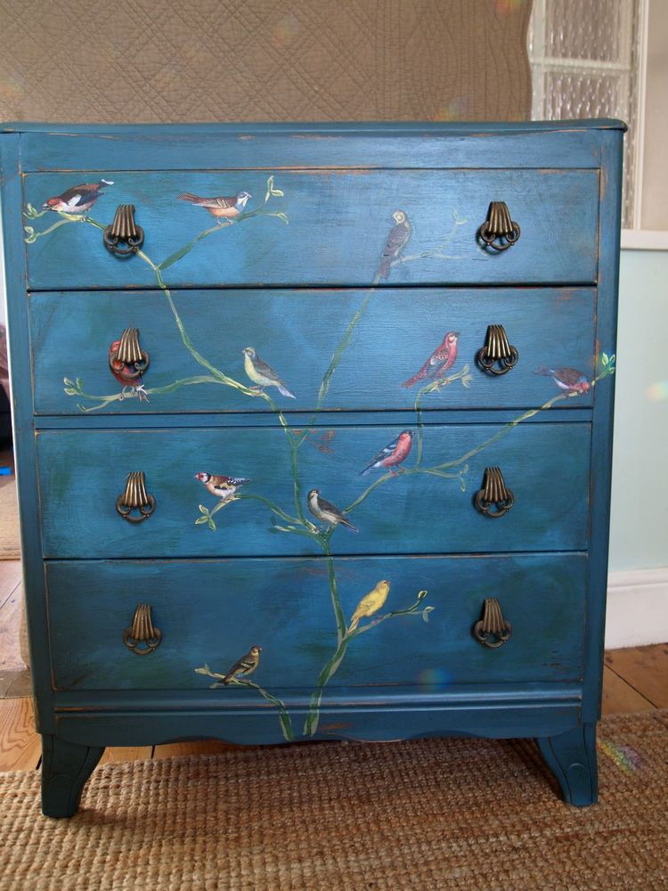 Details about VINTAGE CHEST OF DRAWERS painted shabby chic DISTRESSED teal DECOUPAGE birds