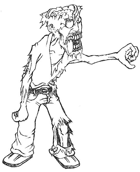Zombies Are Scary Coloring Pages - Halloween cartoon ...