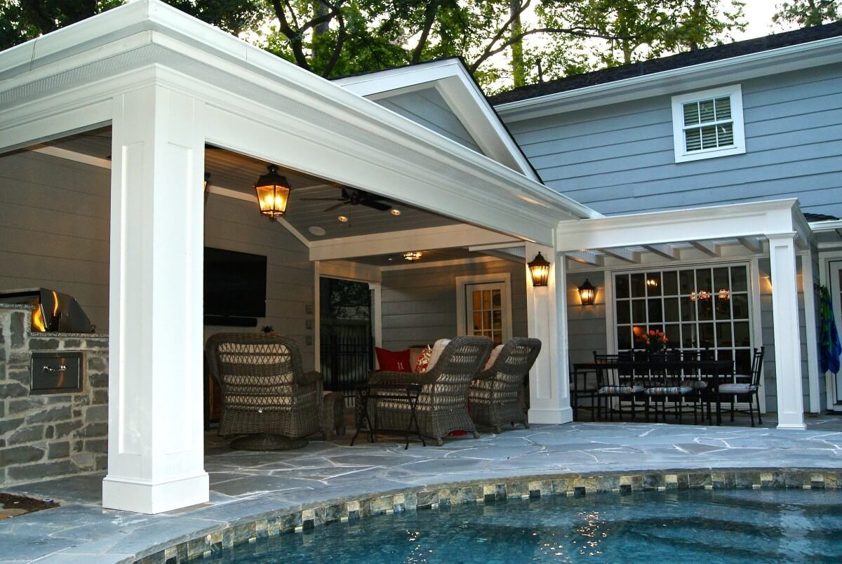 Memorial Off Garage Patio Cover And Outdoor Kitchen With Images Backyard Patio Outdoor Kitchen Design Layout Outdoor Kitchen Patio