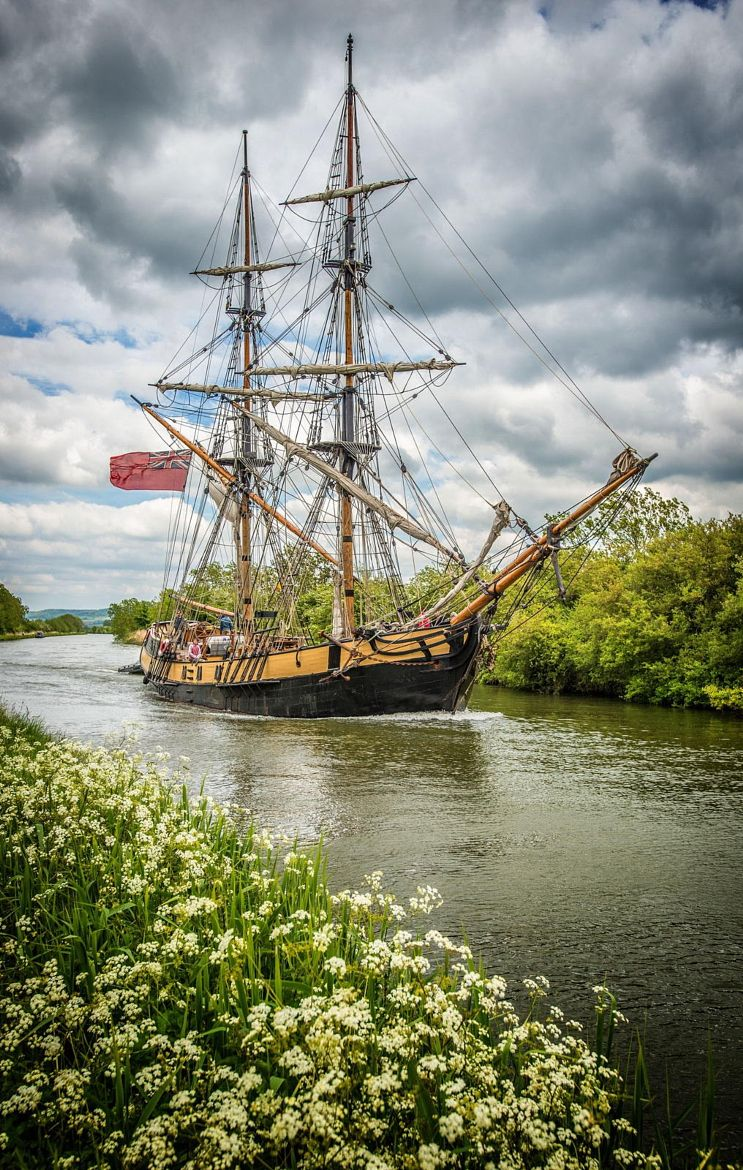 Photograph by Matt Bigwood .The Phoenix on the Gloucester-Sharpness Canal near Purton, Gloucestershire, returning from the Gloucester Tall Ships event.